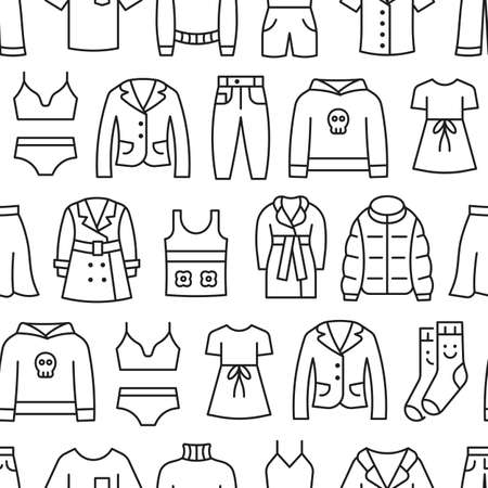 Woman clothing line icon seamless pattern.