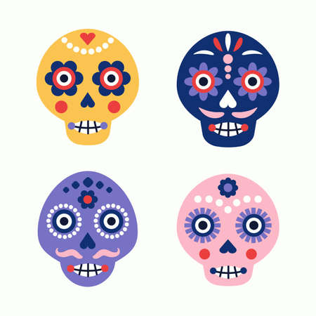 Colorful skull vector set. Day of the dead elements. Dia de los muertos holiday decoration.