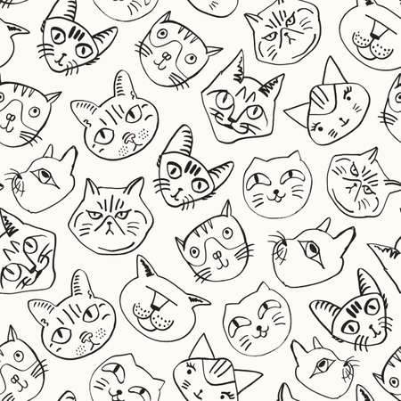 Cat seamless background. Hand drawn various cat's heads pattern. Inky cute decoration. Doodle vector texture.