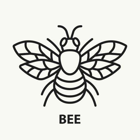Bee flat line icon illustration. Vektorové ilustrace
