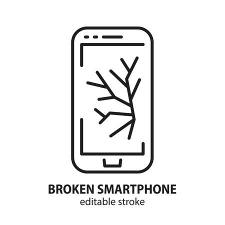 Smartphone line icon. Broken display on a device. Crack on mobile telephone. Repair vector concept. Editable stroke. 向量圖像