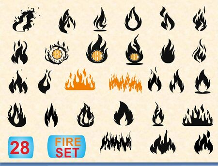 Flames bundle, Flames monogram, Fire flame icon, Personalized flames monogram and fire set Foto de archivo - 126939105