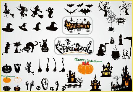 Halloween icons. Halloween set.