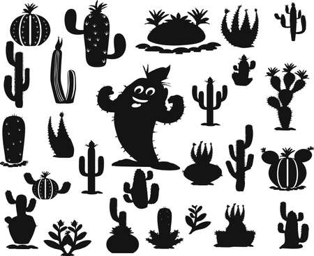 Cute Cactus Set. Vector suitable for printing.