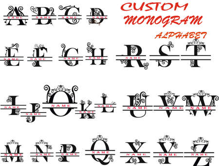 Floral ornate alphabet. Decorative letters. monogram. VECTOR.