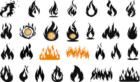 Flames bundle, flames SET. Fire flame icon. VECTOR Suitable for advertising and printing Vektorové ilustrace