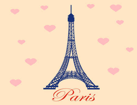Eiffel Tower with heart background. Paris, France. Vector.