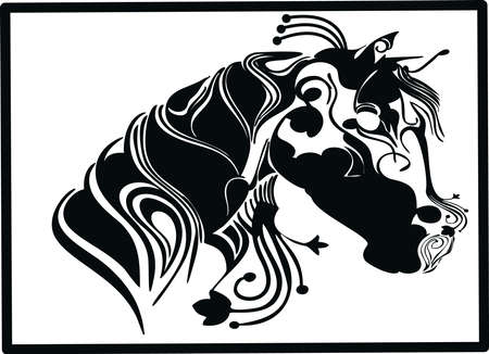 Patterned head of the horse on a white background. It can be used for design of Africa / indian / A t-shirt, bag, postcard, poster etc. VECTOR.