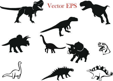 Dinosaurs and Jurassic monsters icons. Cute Dinosaurs Set. Dinosaurs silhouette.