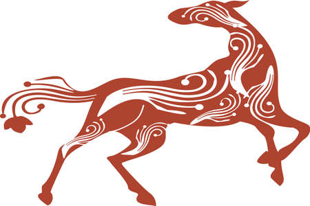 Patterned orse on a white background. It can be used for design of Africa / indian / totem / A t-shirt, bag, postcard, poster etc. Ilustracja
