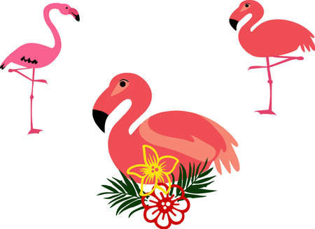 Flamingo and tropical flowers suitable for summer poster, card and t-shirt design. VECTOR
