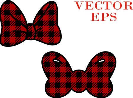 Buffalo Bows- Buffalo plaid Minnie bow. Vector