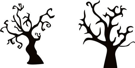 Silhouette of HALLOWEEN tree. VECTOR Suitable for printing Ilustracja