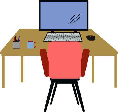 Working desk in white background. VECTOR