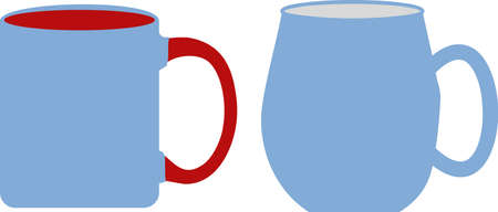 Red Handle and Blue Coffee Cups on white background