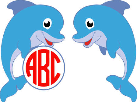 Set of Cute blue dolphin. Vector illustration for swimming pool brochure or banner. Isolated on white background in cartoon style. monogram