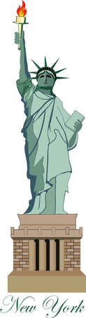 Statue of Liberty in New York- Vector- Eps