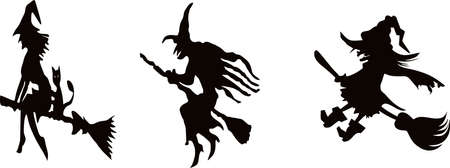 Halloween witch on white background. Vector