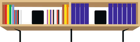 Wooden patterned bookcase, office bookshelf. VECTOR