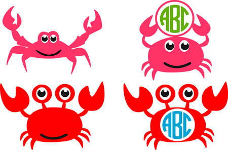 Cute red crab SET. Crab silhouettes - monograms. Vector icon isolated on white background.