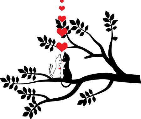 Cats love in the tree. For Valentine's day and love prints. VECTOR