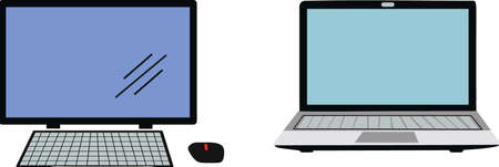 Personal computer and Laptop in white background, vectorel