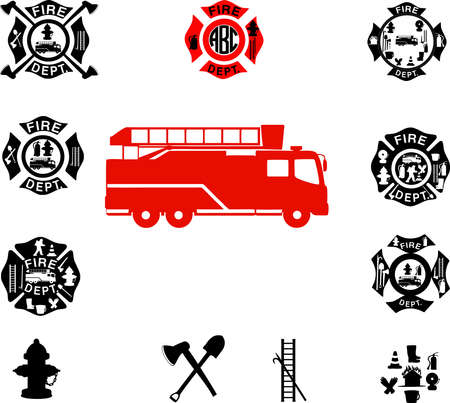 White background Fire department, Fire Department Emblems. vector
