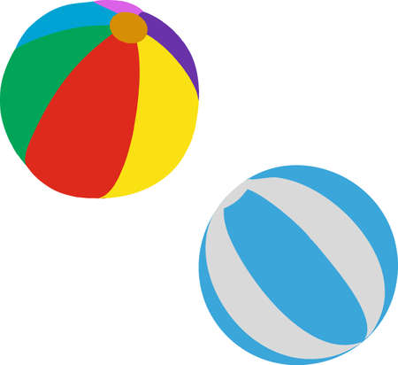 Colored Beach Ball on white background. VECTOR 向量圖像