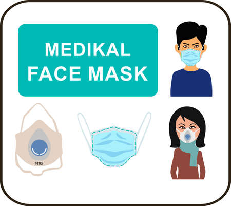 Man and woman in medical mask. People in protective medical face masks. Vector