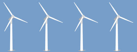 Wind turbines on blue background. VECTOR Ilustração