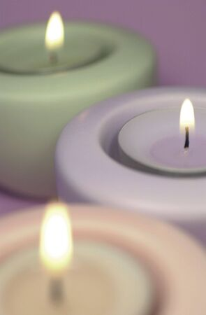 muted: Three calming aromatherapy candles with muted colours