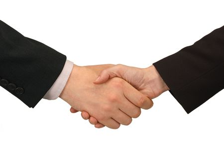 handshake between man and woman in business suits