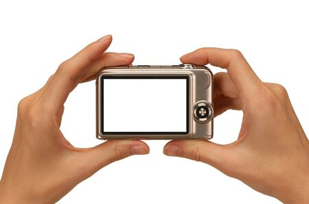 female hands taking picture with a compact digital camera Stock Photo - 3119717