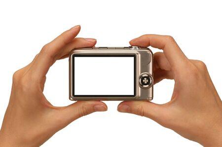 viewfinder: tenendo le mani femminili foto con una fotocamera digitale compatta
