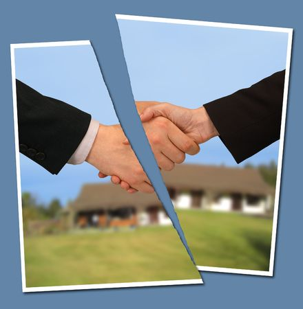 broken contract: torn photograph of people shaking hands against a property