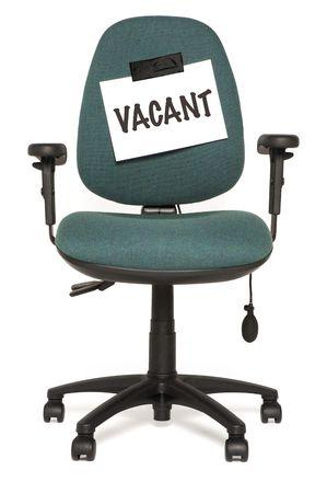 vacante: oficina con silla vacante signo  Foto de archivo