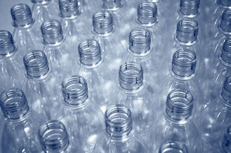 empty plastic bottles on a production line                                 Stockfoto
