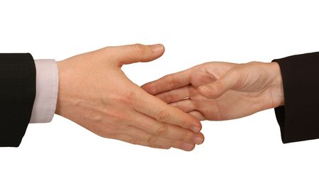 male and female hands about to shake                                Stockfoto