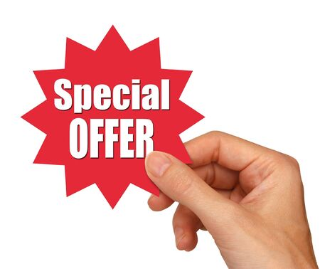young female hand holding a special offer star                                Stockfoto
