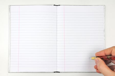writing with ink pen on open blank notepad Stock Photo - 6052568