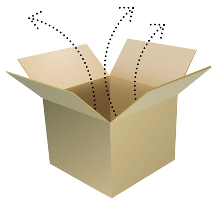 open cardboard box with layer for your objects Çizim