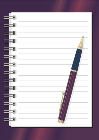spiral binding: fully editable notepad and pen on deep red background