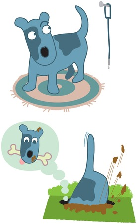 digging: two vector cartoons of a happy dog character