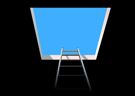 fully editable vector of ladder leading to the sky Stock Illustratie