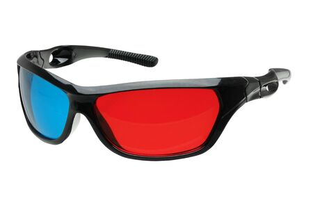 3d glasses in red and blue isolated on white with clipping path