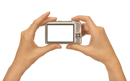 viewfinder: female hands taking picture with a compact digital camera Stock Photo