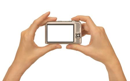 viewfinder: scatta foto con una fotocamera digitale compatta femminile di mani Archivio Fotografico