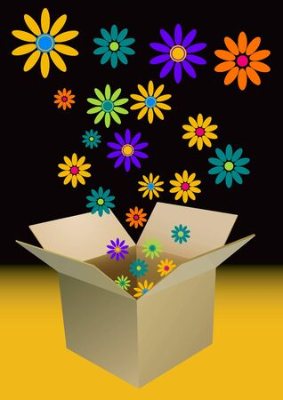 bursting: colorful flowers bursting out of a cardboard box