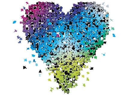 abstract heart breaking into lots of colorful fragments Stock Vector - 10485240