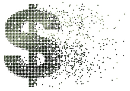 abstract illustration of cash flow with dollar sign